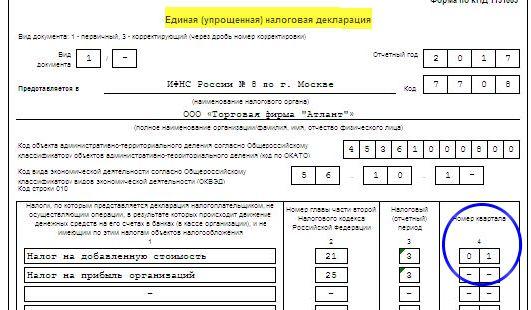 Единая упрощенная налоговая декларация в 2017 году образец заполнения