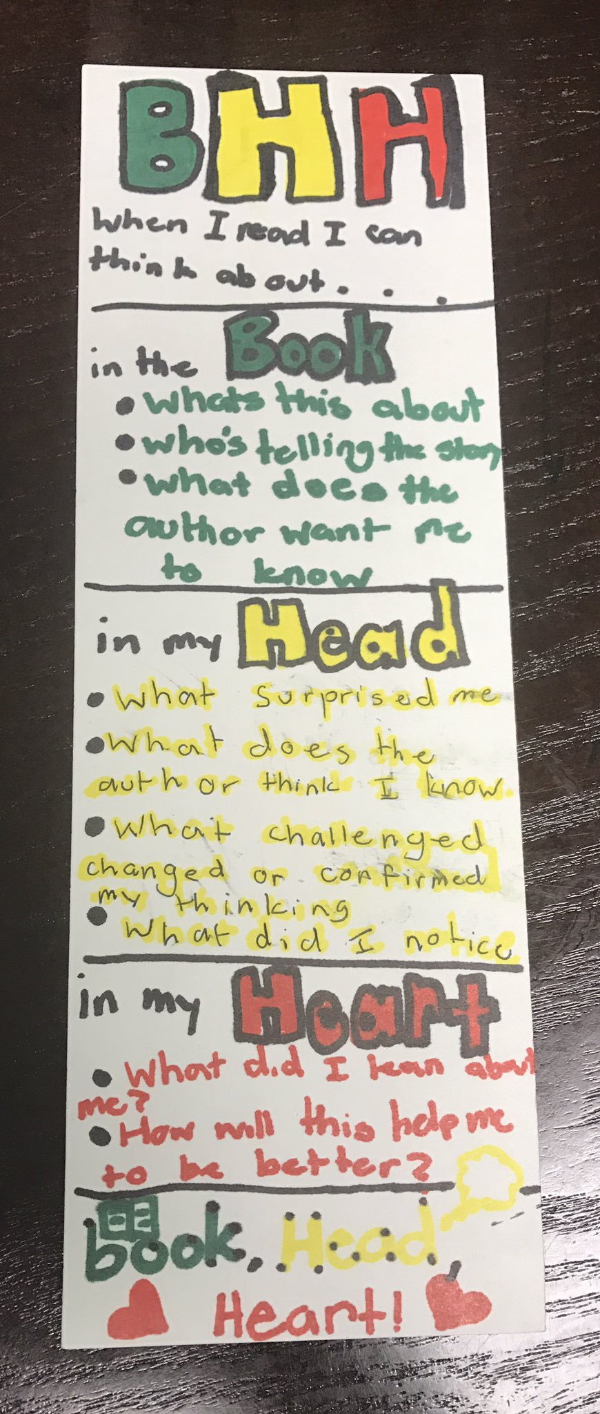 """Ss created """"BHH"""" strategy bookmark!!! #DIYLiteracy #DisruptingThinking #LESGeeenRoom https://t.co/bihvdVgTrA"""