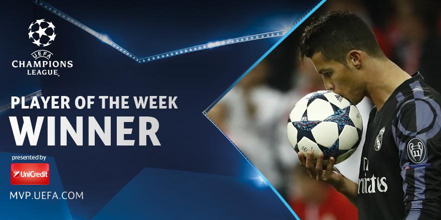 ჩემპიონთა ლიგაზე კვირის საუკეთესო ფეხბურთელად კრიშტიანუ რონალდუ დასახელდა