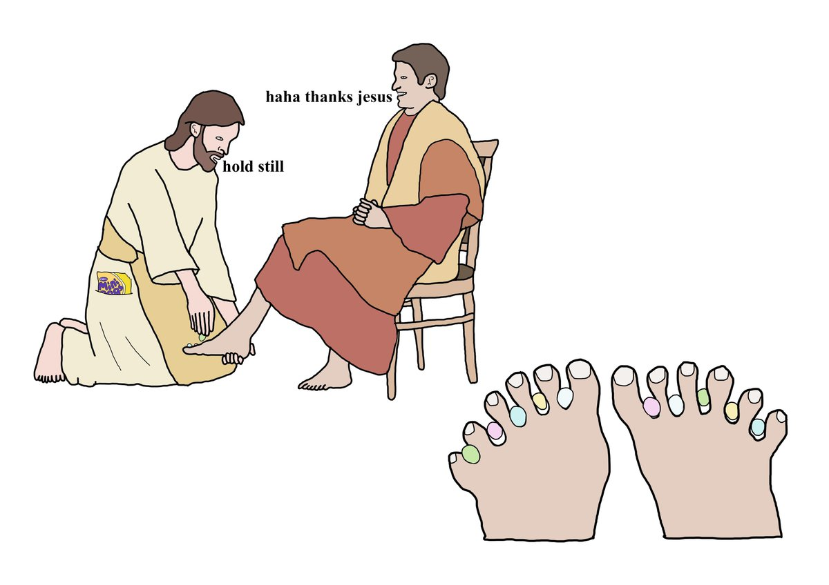 it was such a good friday 300 years ago when jesus put mini eggs between everyones toes to cheer them up xox https://t.co/UjWcZZ0jrN