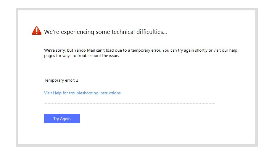 I use Yahoo email Accnt. But today I find it non-accessible. This is showing the below msg.#YahooCare #YahooMail Plz Help <br>http://pic.twitter.com/Z2dD8RudfQ