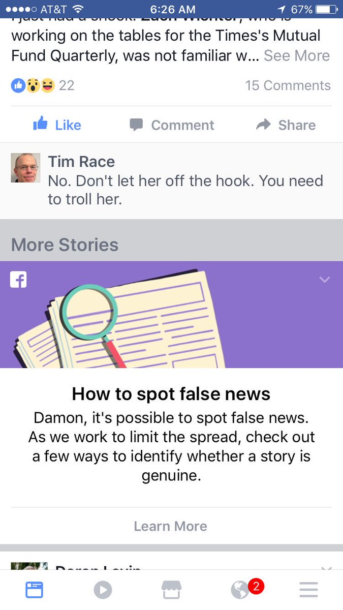 """Facebook is giving advice on spotting fake news. How about: """"Don't go to Facebook. Go to a real news site."""" https://t.co/6YMydNPhAU"""