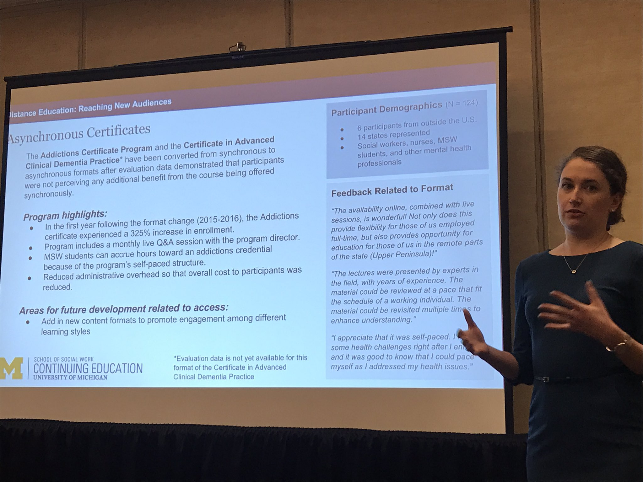 Alia Wesala: UMich SW uses Canvas & Bluejeans for continuing ed, runs certificates in-house w/o external partner #swde2017 https://t.co/KrTDwgbD0B