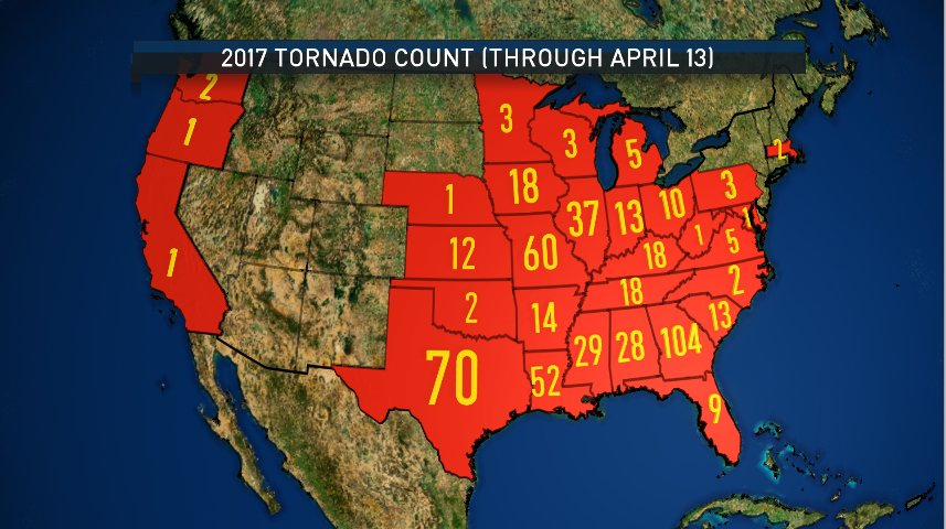 Map Of Tornadoes In Texas Yesterday.Grant Johnston On Twitter Update To The Tornado Count Map To