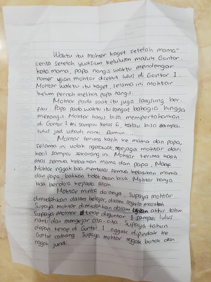 Hasyim Asyari ٹوئٹر پر Surat Cinta Anak Santri At Pmgontor