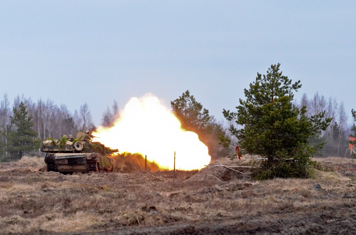 Soldiers conduct a tank livefire  and  react-to-fire exercise on Adazi military base in Latvia in support of Op Atlantic Resolve