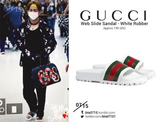 f35c18602 170414 #bts #taehyung #v #방탄소년단 #김태형 #태형 GUCCI web slide sandal in white  rubberpic.twitter.com/9VuCtsKZRy