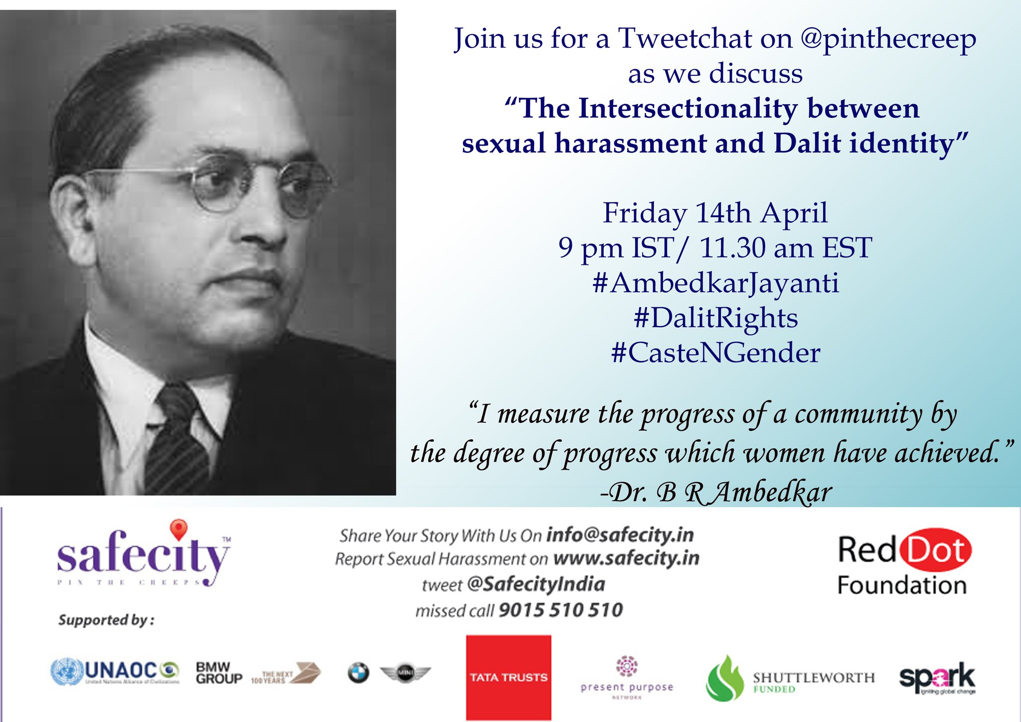 "Hi everyone, Happy #AmbedkarJayanti Welcome to today's chat on ""Intersectionality between sexual harassment and #Dalit identity"" https://t.co/6DjF8n5Zhi"