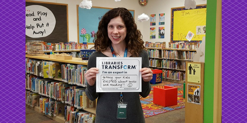 We're highlighting our staff members for #NationalLibraryWeek. Jenny is a librarian in Kids Crossing. #expertinthelibrary https://t.co/kb50UZ6HtU