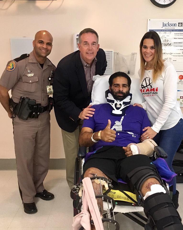 Trooper Carlos Rosario Flores Is Visited By Marlins Man And Winz Radio Host Andy Slater Was Critically Injured During The Morning Mute
