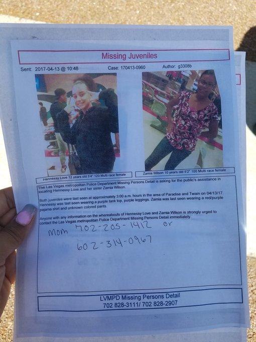 Two little girls went missing last night in #LasVegas. Please help.  #missingpersons #amberalert https://t