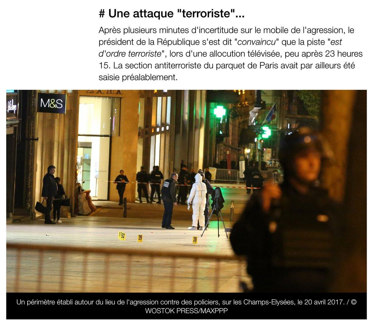 Sur @francetvinfo #attentat #terroriste #policier #abattu sur les #Champs-#Elysées  : le point sur l&#39;#enquête.© Tatif/Wostok Press<br>http://pic.twitter.com/FT1SA2K23U