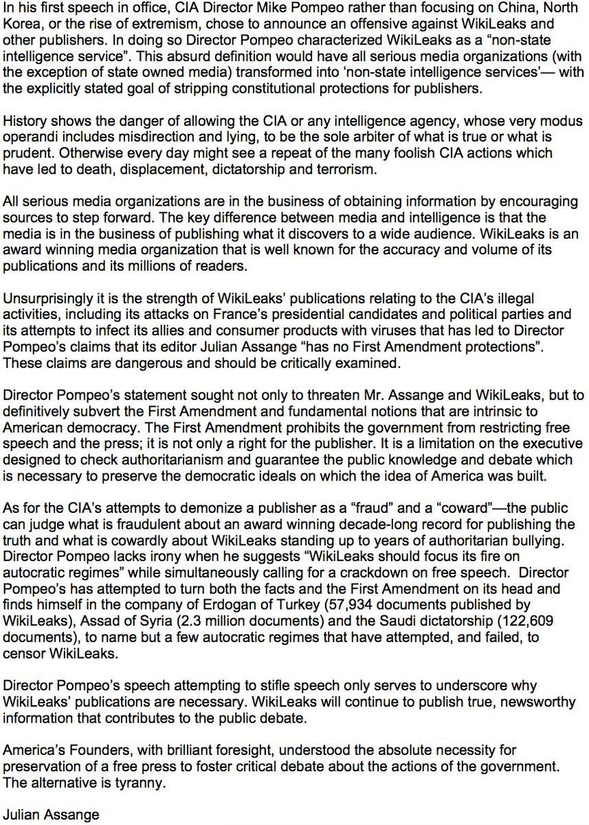 WikiLeaks statement responding to #CIA Director Mike #Pompeo #Vault7