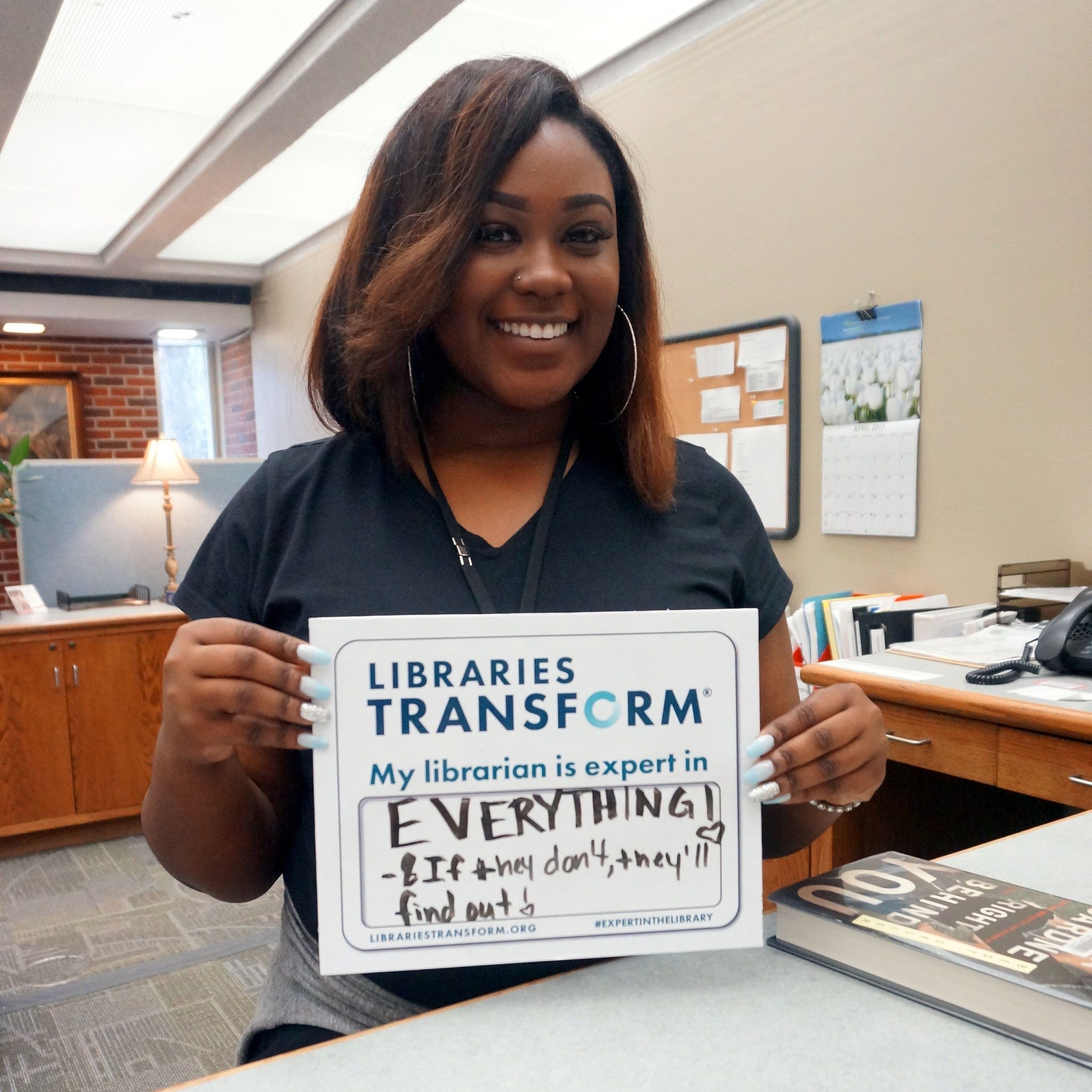 Ayanna hit the nail on the head! Librarians can help you find information to help you become an expert in ANYTHING! #expertinthelibrary https://t.co/YQqrSnig0C