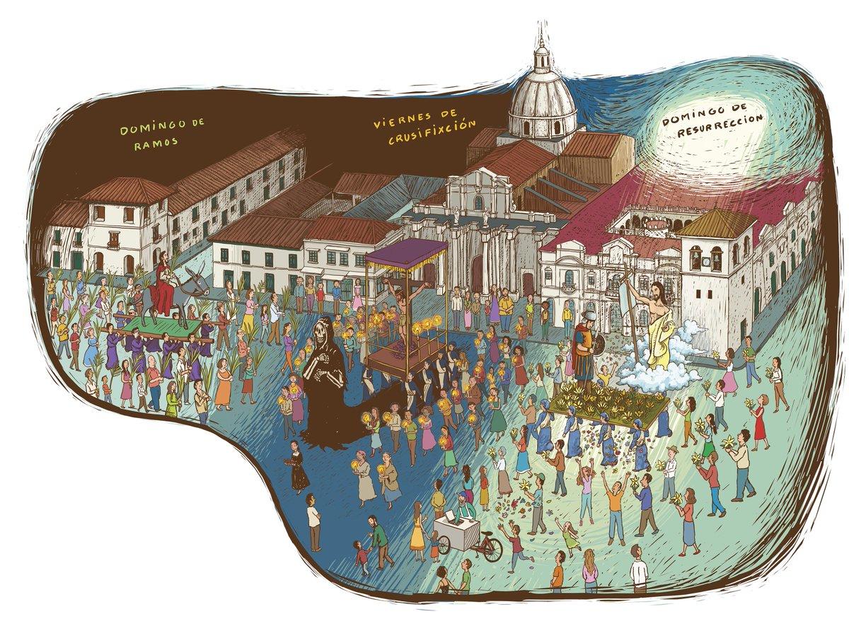 #SemanaSantaEnPopayan y #SemanaSantaDeMompox, ilustraciones de #RafaelYockteng para el libro #QueBailenLosQueEstánDeFiesta de @GomezJattin https://t.co/vMxyFDHPOr