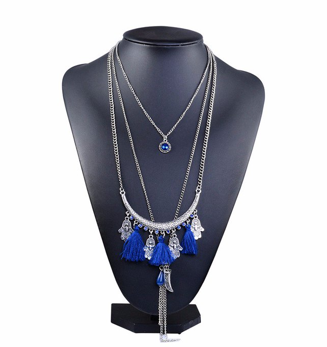 Multilayer Chain Necklaces with Tassels and Beads