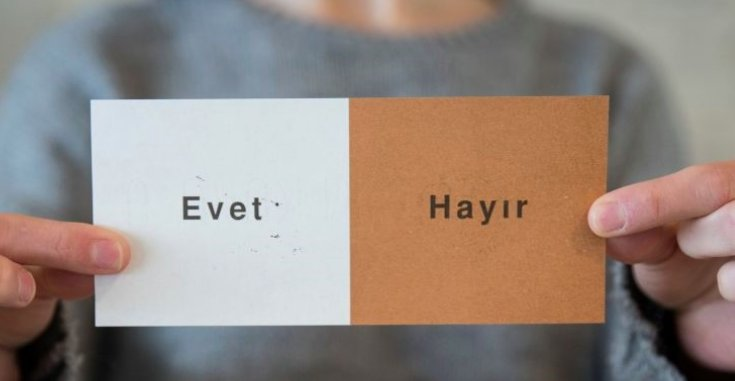 "picture of a ballot for the Turkish referendum, showing ""Evet"" on a white background, ""Hayir"" on brown."