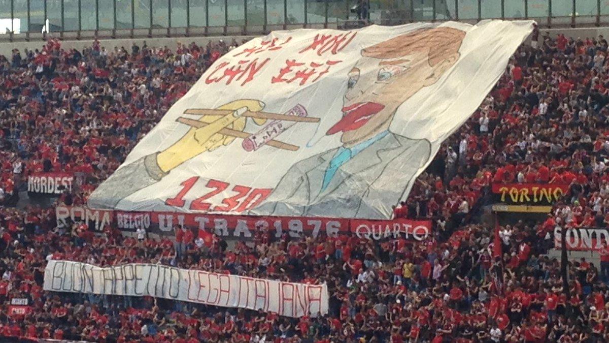 Фаны Милана вывесили креативный баннер о продаже клуба китайцам