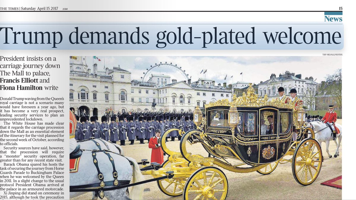 """Donald Trump sees riding in a gilded carriage as """"essential ingredient"""" of UK state visit https://t.co/LHVV8kduRx"""