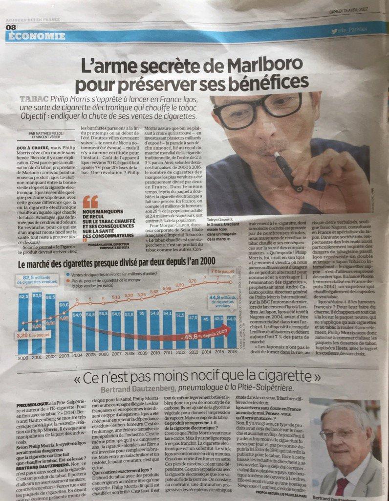 #leparisien fait une page sur nouveau produit du tabac PMIIqos=produit délivrant pics de nicotine à ne pas consommer pic.twitter.com/dpkdkmqNES