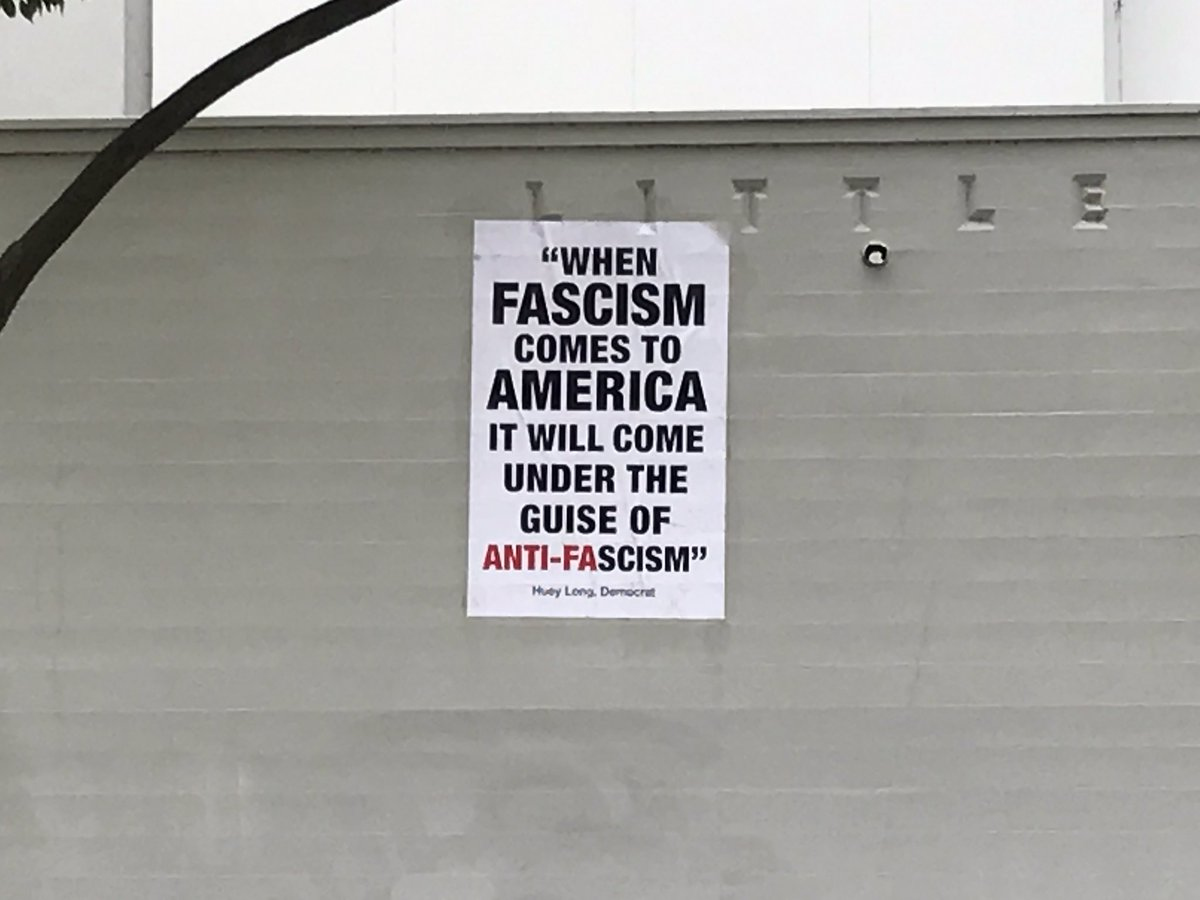 PHOTO: A banner hung up at the rally in Berkeley.