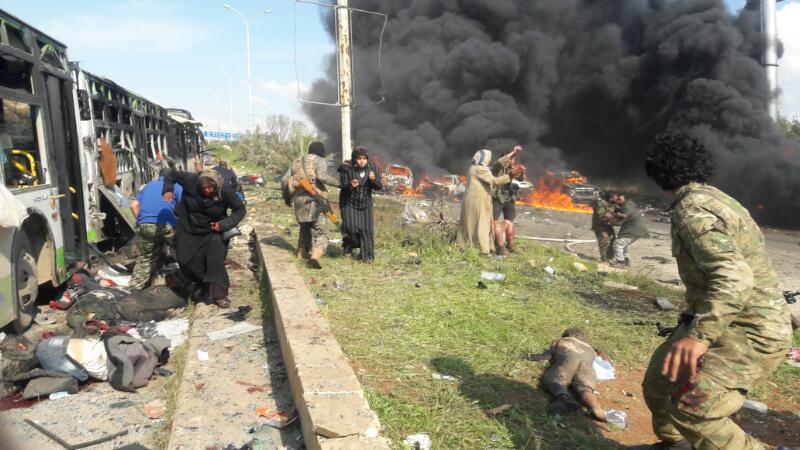 سوريا: ارتفاع عدد قتلى الهجوم على حافلات المهجرين إلى 112