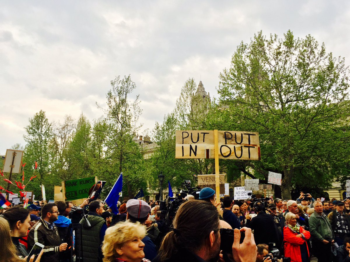 Anti-Putin slogan at today's #istandwithCEU and  #IstandwithNGOs protest at Liberty square, Budapest