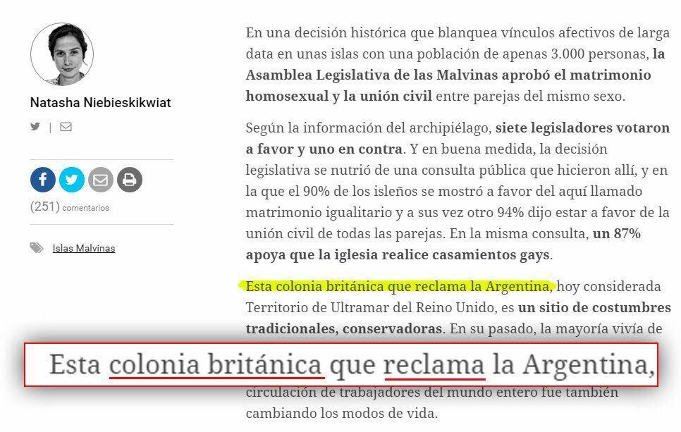 """Acá @natashanieb periodista de Clarín y TV Pública, nos cuenta que las Malvinas son """"Colonia británica reclamada por Argentina"""". Verguenza. https://t.co/ICKbiYPT0C"""