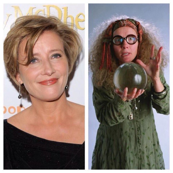 April 15: Happy Birthday, Emma Thompson! She played Sybill Trelawney in the films.