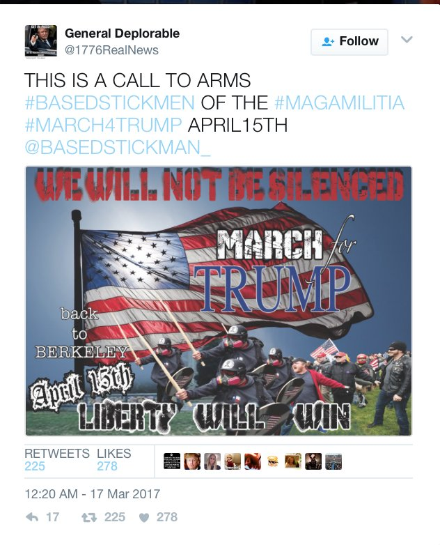 """A """"call to arms"""" was issued to Trump supporters a month ahead of events @ Berkeley today. Don't let this get pinned on anti-Trump protesters https://t.co/2jtBjDxcGh"""