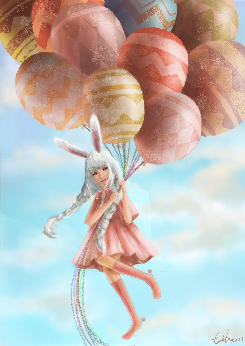 Happy Easter!   http:// lukto.deviantart.com/art/Happy-East er-675162382 &nbsp; …   #Easter #Easter2017 #bunny #eastereggs #balloons #digitalart #bluesky #cute #Pink #festival<br>http://pic.twitter.com/o2iLwumyWz