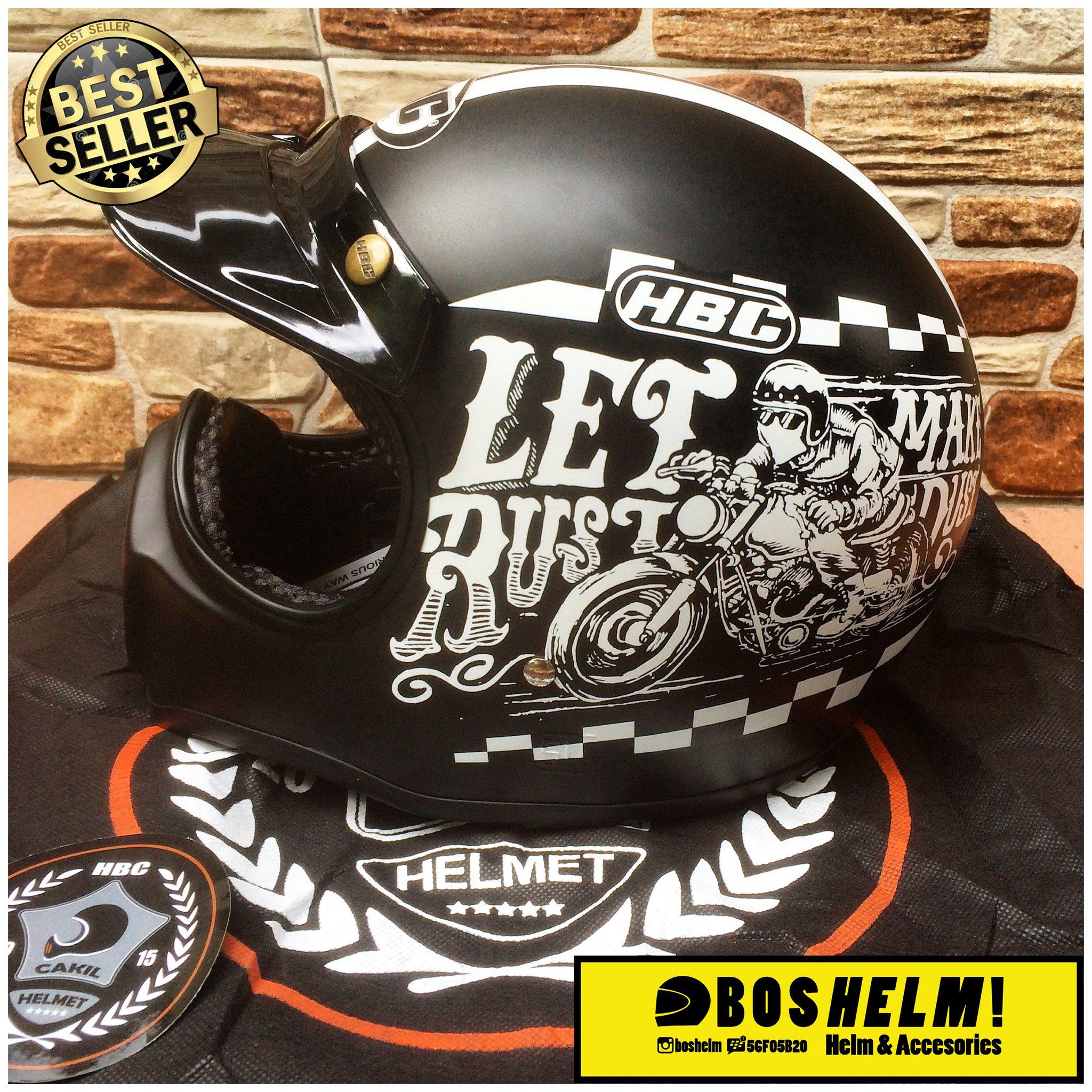 Helm Cakil Hbc Rust Dust Gading Motif Cream Size Ready S M L Xl Steve Legend Hitam Doff Source