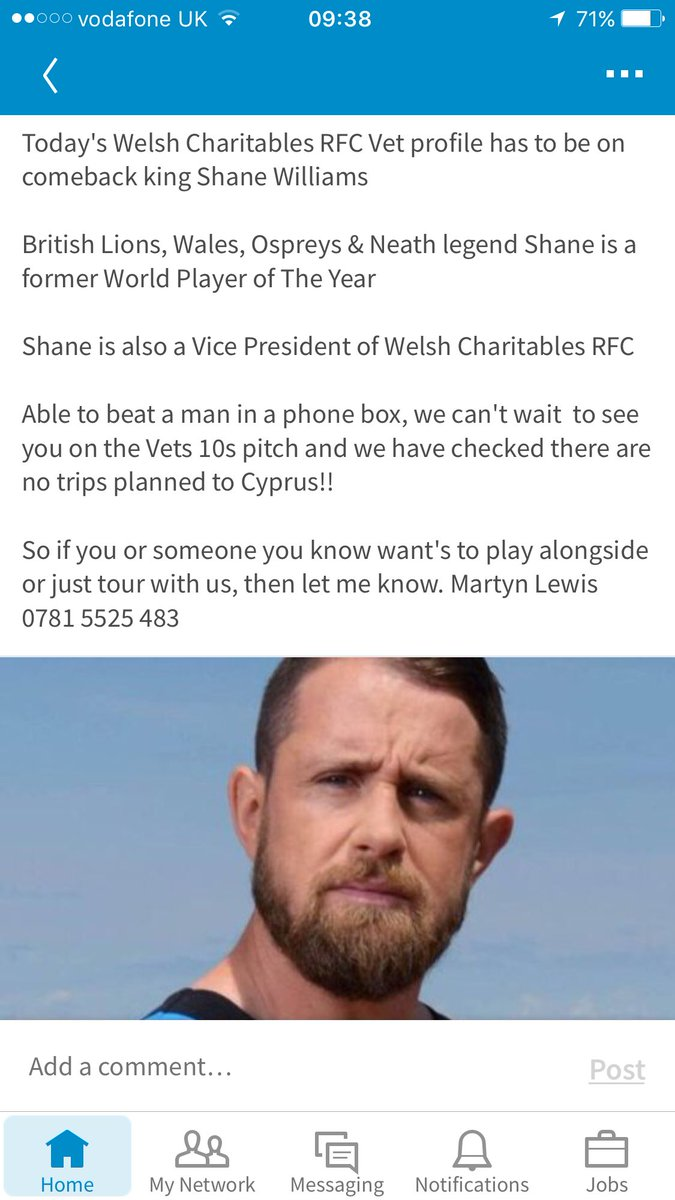 Today&#39;s #profile @ShaneWilliams11 plays in #wru #finalsday @ospreys @NeathRugby legend. @WelshCharRFC VP We can&#39;t wait for #Vets10 #Rugby7s<br>http://pic.twitter.com/40rzW3tVj8