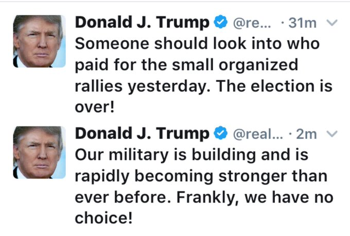 These are consecutive @realDonaldTrump tweets, 28 minutes apart. Read them consecutively. The man is manifestly and dangerously insane.