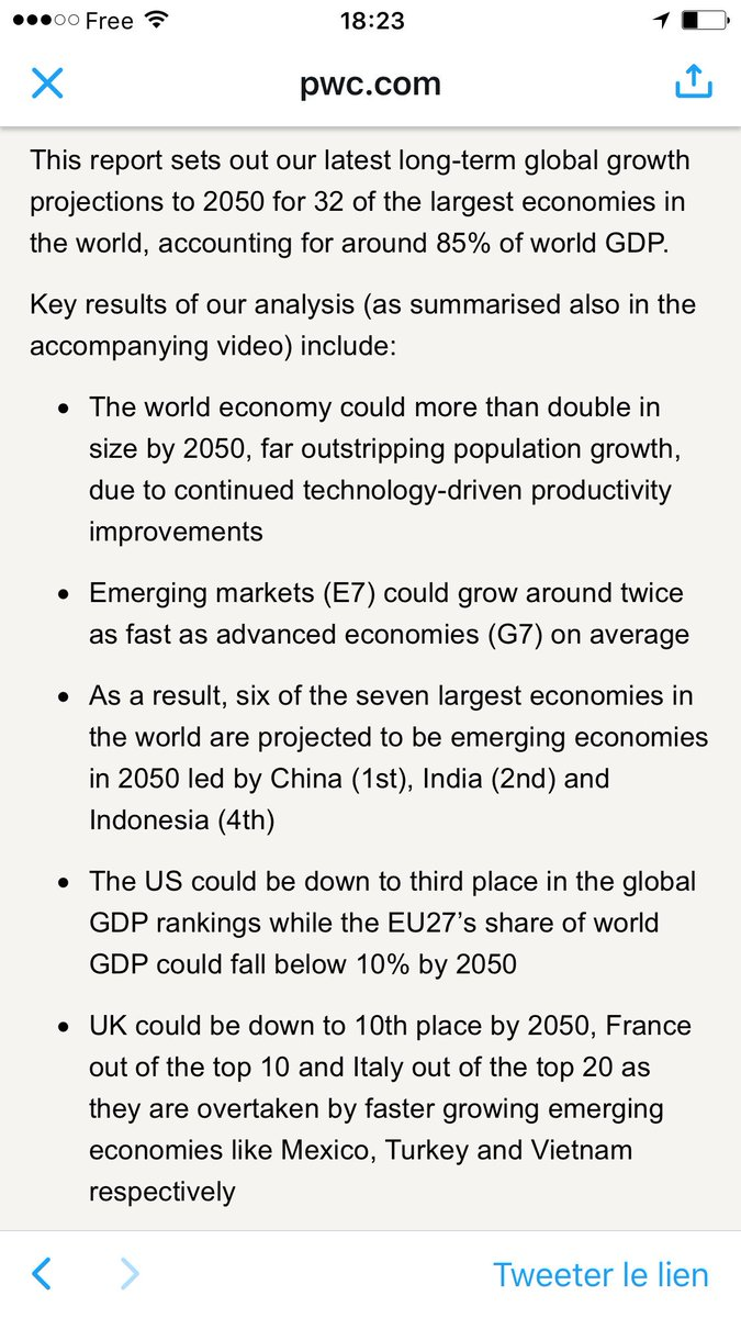 Projected gdp at ppps of the world s major economies by 2050 pwc - Mauna Traikia On Twitter Prospective World2050 Economics France Out Of The Top 10 The World In 2050 Economic Order Change By 2050