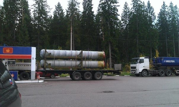 S-300 containers on the road near Vyborg