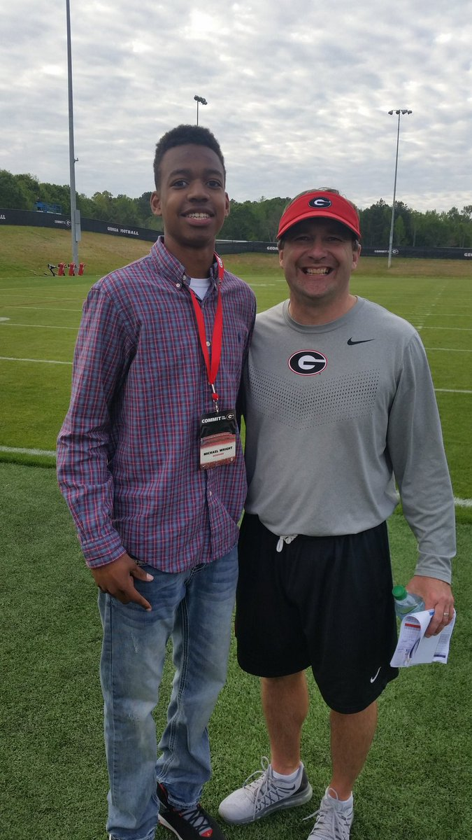 Class of 2020 QB Michael Wright, Jr.(left) with Georgia Head Coach Kirby Smart (Photo from Michael Wright, Jr../Twitter)