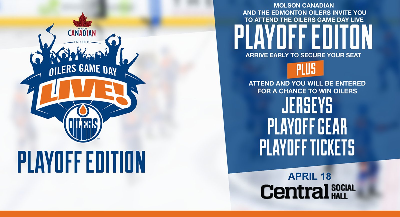 Edmonton Oilers On Twitter Tuesday Molson Canadian Gamedaylive Is Back For The Playoffs Starting With Game 4 At Centralsh Details At Https T Co O53dkktmzg Https T Co A4pmif1sm4