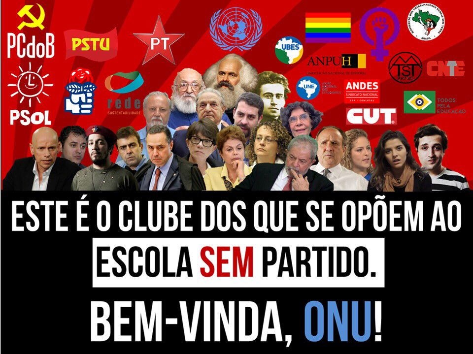 Esquerda unida contra Escola Sem Partido só confirma argumento do projeto e necessidade de aprová-lo.