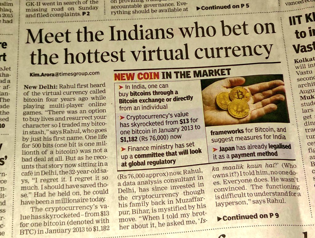 Bitcoin has truly arrived in India - here's a story on front page of TOI by @kimaroraTOI https://t.co/ID4vAx4vHd