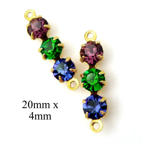 amethyst emerald and sapphire tiny glass stones in birthstone colors