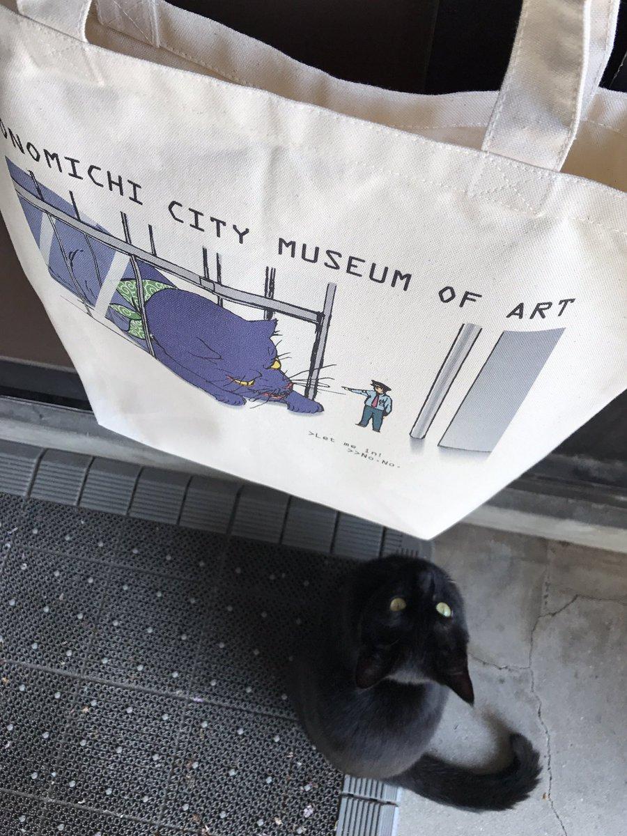 ツイート「猫と警備員の攻防」10万イイネ!の感謝を込めて、トートバックを発売します。黒猫が巨大な化け猫に変化した浮世絵(国芳)風の絵柄。価格は1,500円、サンキュー390枚の販売となります。限定商品のため当館ショップのみで取り扱い(通信販売不可)。ご来館をお待ちしております。