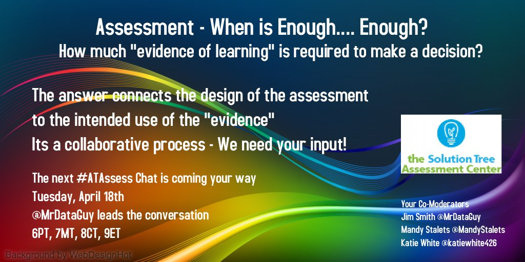 Take a look at  https://t.co/EocXgaSZJ5 … to see the scenarios for Tuesdays #ATAssess chat. Join us https://t.co/ugolf9XojC