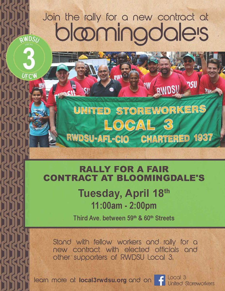nysaflcio nysaflcio twitter the rally is tomorrow fyi we ve moved the location over to 3rd ave let s stand together for a fair contract at bloomingdales pic com xovozqxxhx