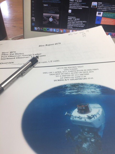 If it's on paper, I guess it's official :) I dove to a depth of 2513 m in #DSVAlvin! So awesome to be part of #CEOEDivesDeep :) https://t.co/tKCIZ5dCmq