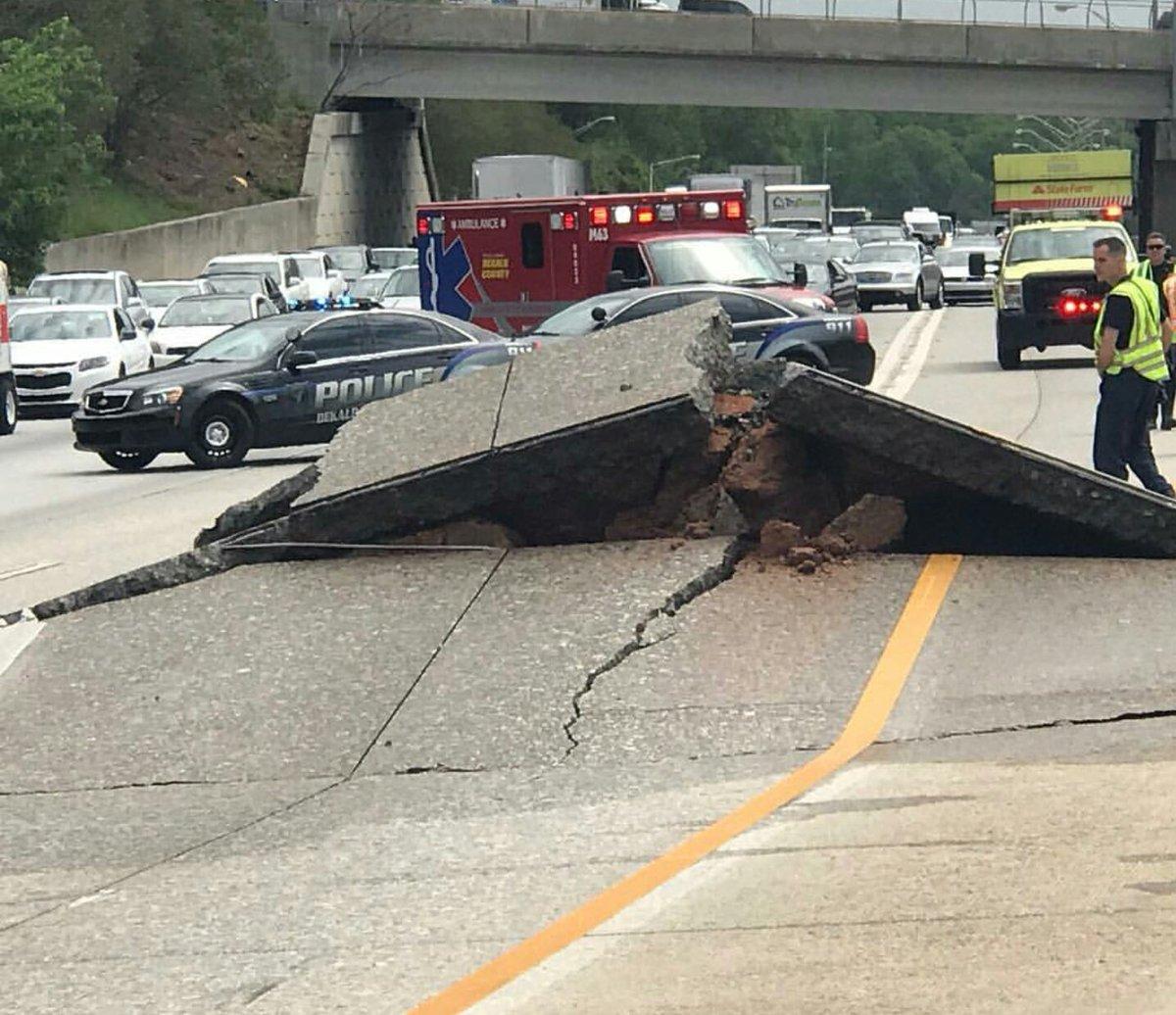 Road buckles on I-20 in Atlanta