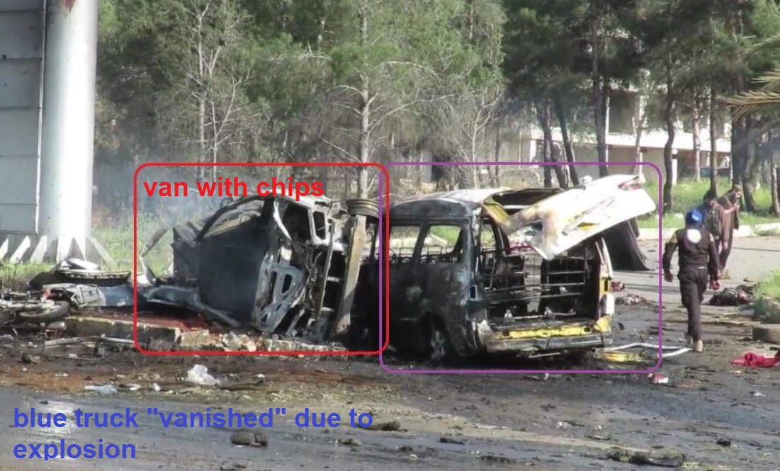 Eyewitness .@AbdHabak confirms to .@joeyayoub that the blue Hyundai truck which came from opposition areas was the one which exploded and killed the people of Fua and Kefraya alongside rebels next to the van which carried aid (chips/crisps) for children in Rashideen, west Aleppo, Syria.