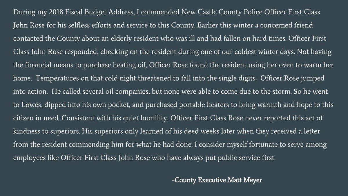 newcastlecountypd nccpd de twitter nccpd de officer first class john rose embodies selflessness humility and kindness i am thankful for his service to our county pic com