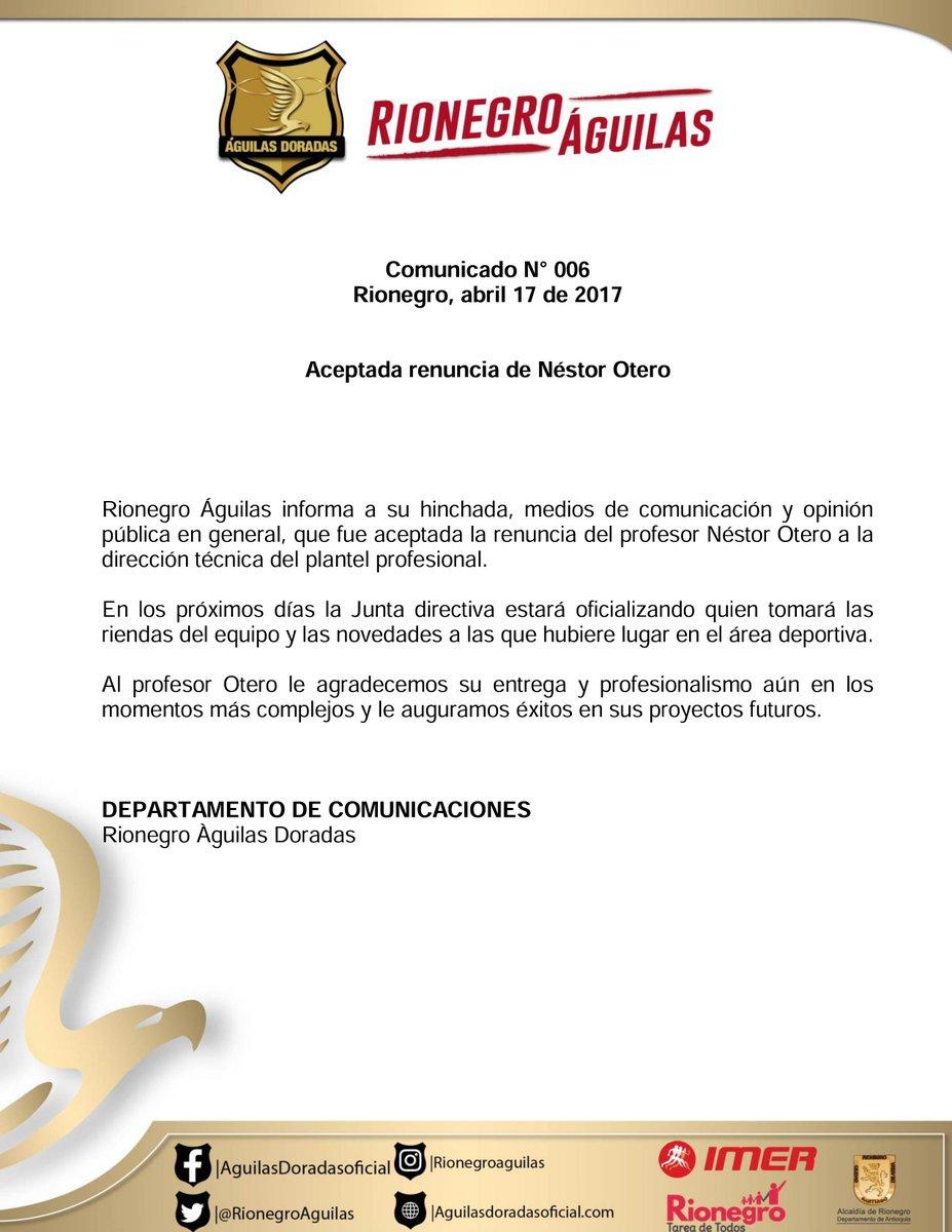Néstor Otero deja la dirección técnica de Rionegro Águilas