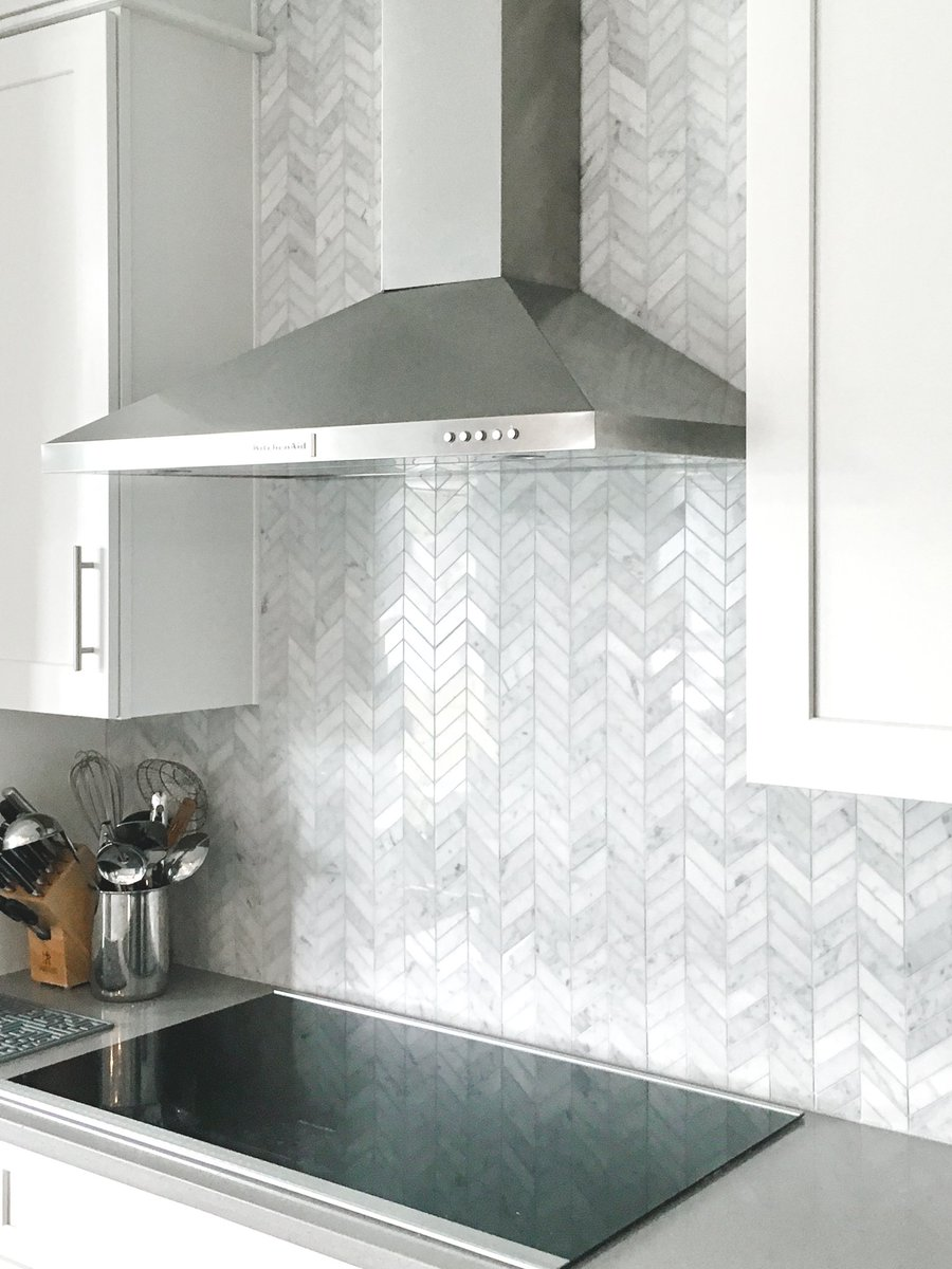 Artistic tile on twitter for a classic kitchen backsplash our artistic tile on twitter for a classic kitchen backsplash our 1x 3 chevron mosaic is a timeless choice in polished bianco carrara marble dailygadgetfo Images